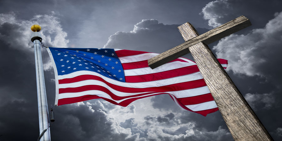 arah Watching Christianity Growing Stronger In US American Flag Cross