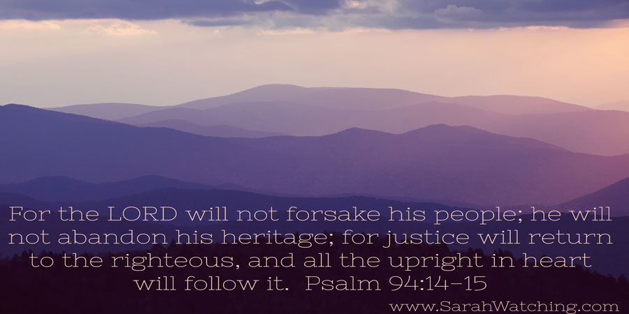 Sarah Watching Psalm 94 14-15; article contains first prayer of 1774 Continental Congress