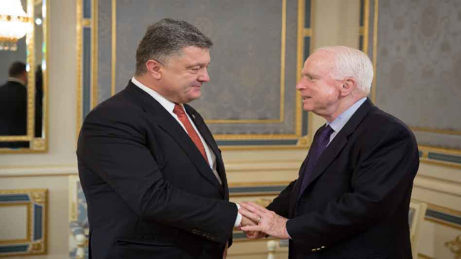 Sarah Watching John McCain 2015 Meeting With President of Ukraine Petro Poroshenko