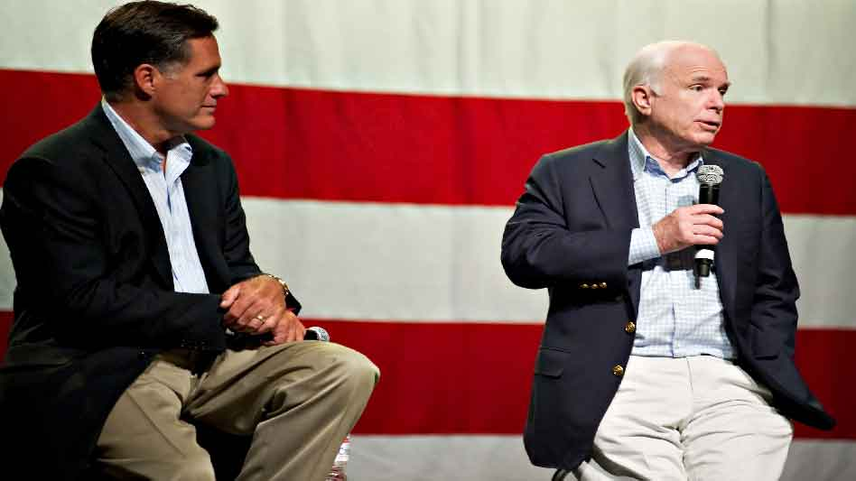 Sarah Watching John McCain And Mitt Romney At A 2010 Town Hall Birds Of A Feather